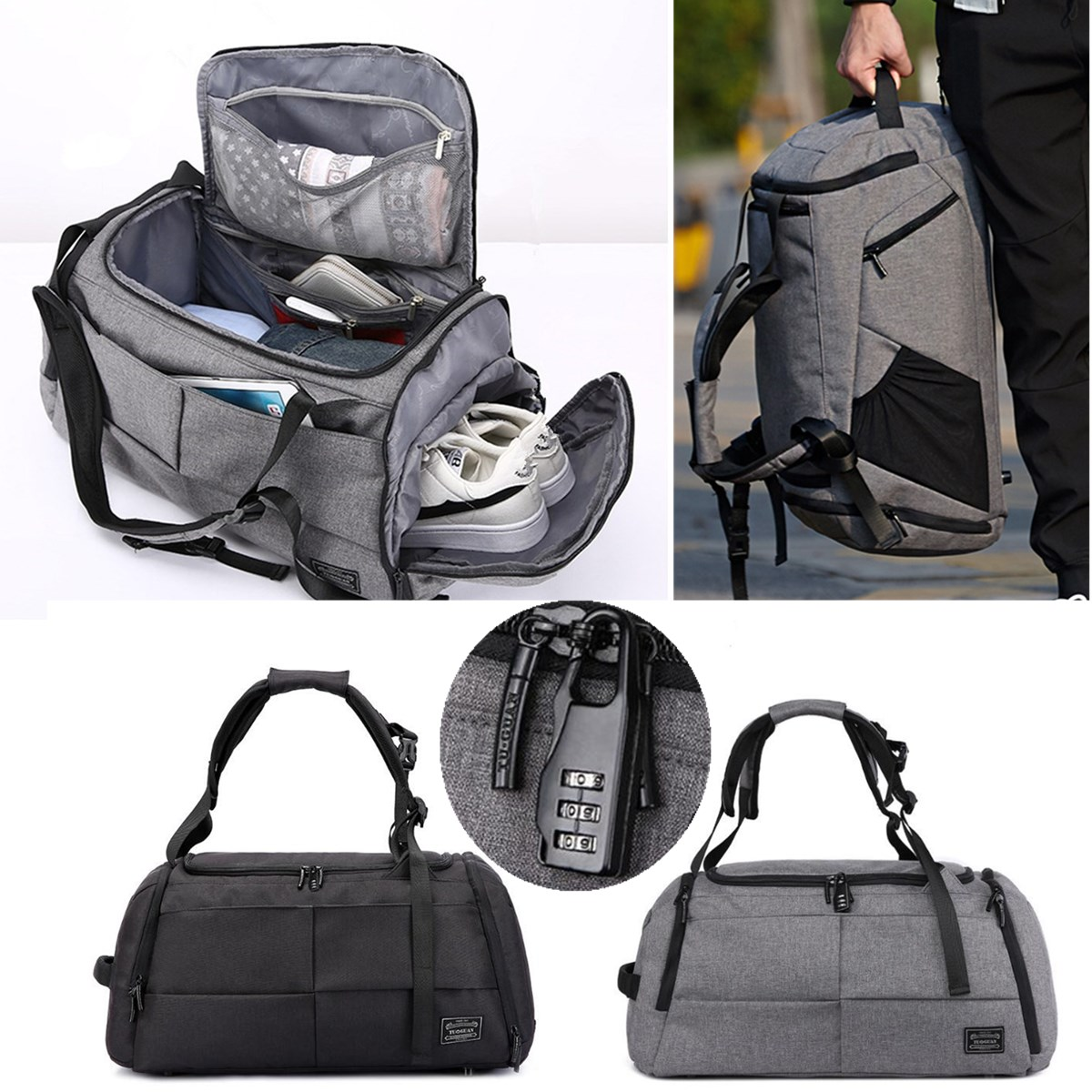 Multifunctional Men Women Luggage Travel Bag Large Capacity Duffle Bag Satchel Shoulder Gym Sports Handbag with Shoes Storage