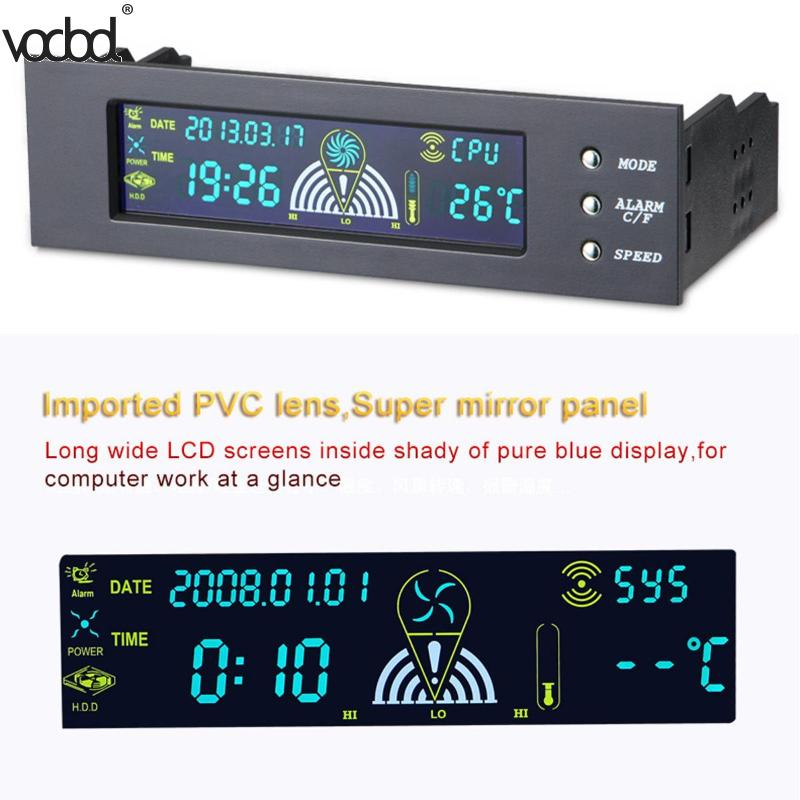 5.25 Inch Computer Fan Controller PC Desktop Front Panel 3 CPU Temperature Sensor LCD Digital Display Fan Speed Controller New