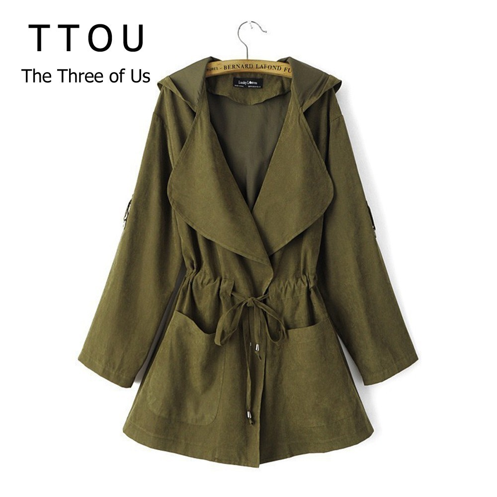 TTOU Women Jack Coat Autumn Long Sleeve Hooded Coat Jacket Casual Elastic Waist Pocket Kimono Female Loose Outwear