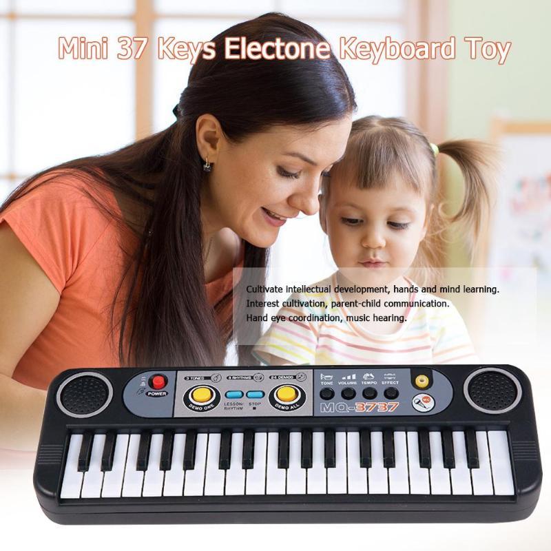 Adattabile 37 Tasti Di Plastica Abs Portatile Keyboarddigital Giocattolo Di Musica Del Bambino Bambini Mini Pianoforte Elettronico Con Microfono Casa Del Regalo Dei Bambini Essere Distribuiti In Tutto Il Mondo