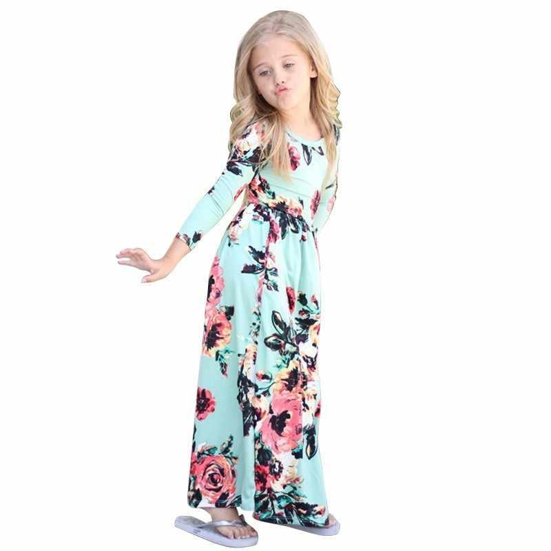 Meninas Longo Vestido de Verão 2019 Bohemian Longo/Maxi Vestidos Florais de Manga Curta Da Cópia Da Flor da Festa de Aniversário Crianças Beach Wear roupas