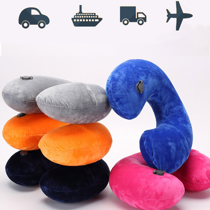 2019 Hot U-Shape Inflatable Travel Pillow Airplane Soft Neck Pillow Travel Accessorie Portable Folding Pillow Sleep Home Textile
