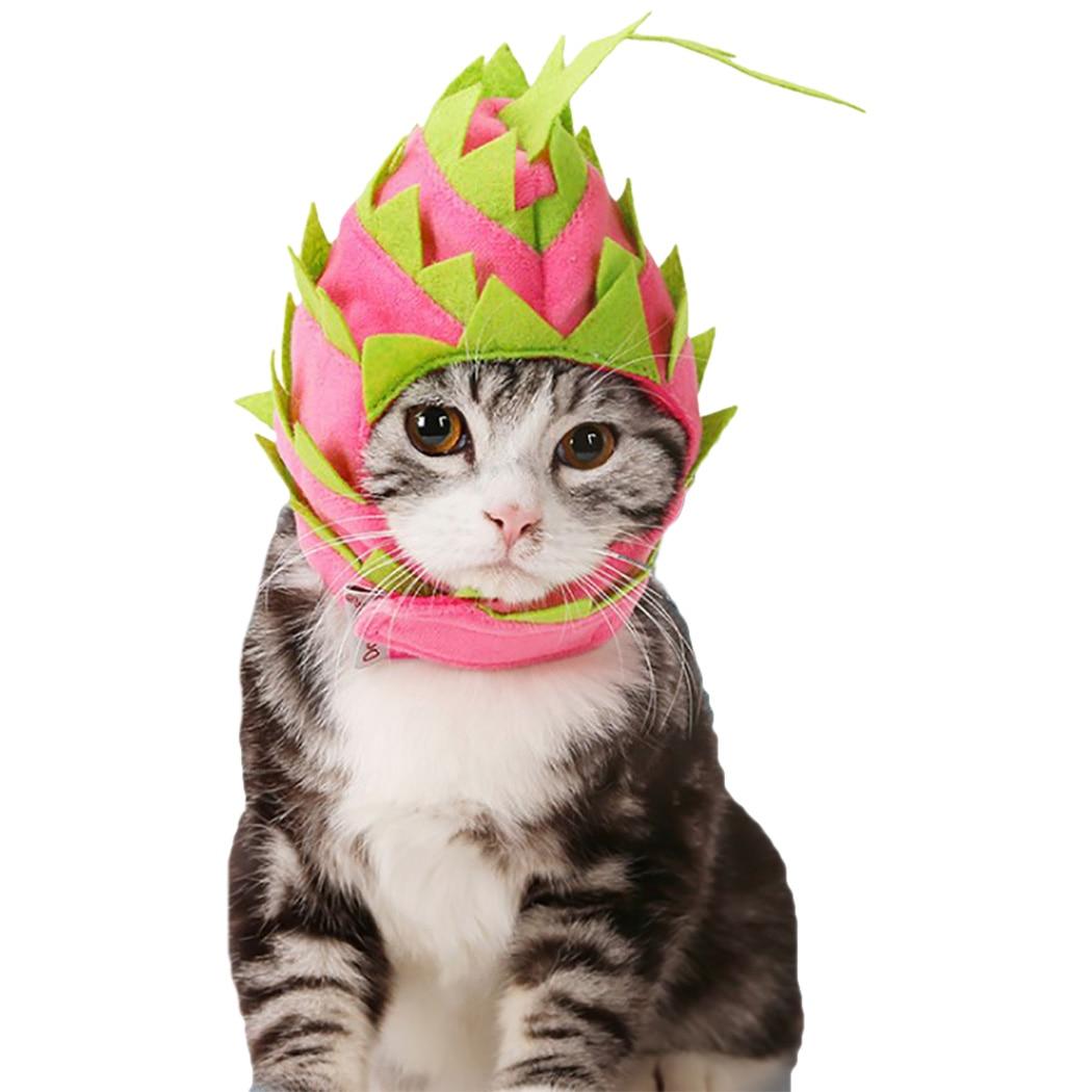Pet Hat Dragon Fruit Shape Cap Clothes Cosplay Costume Decorative Supplies For Halloween Small Medium Dog Cat Rabbit