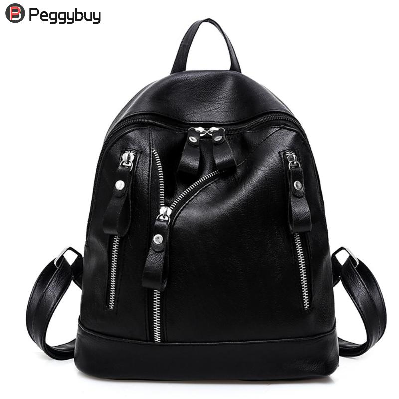 626719b4855 Women Backpack Fashion Casual PU Leather Ladies Teenager Girl School Bags  Feminine Locomotive style cool backpack