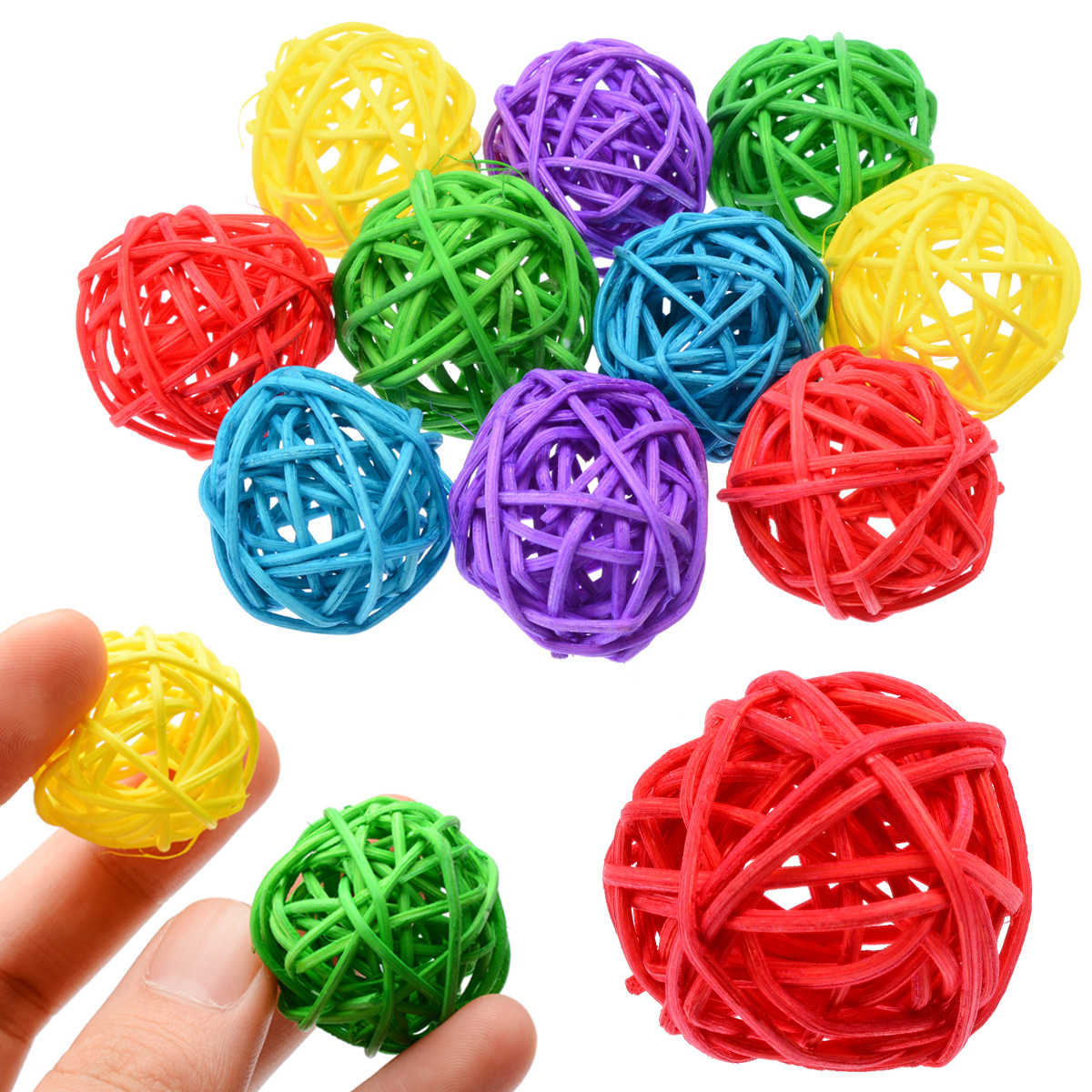 10pcs 3 cm Bird Rattan Ball Chewing Preening Toy For Parrot Budgie Parakeet Cockatiel Interactive Bite Play Toys