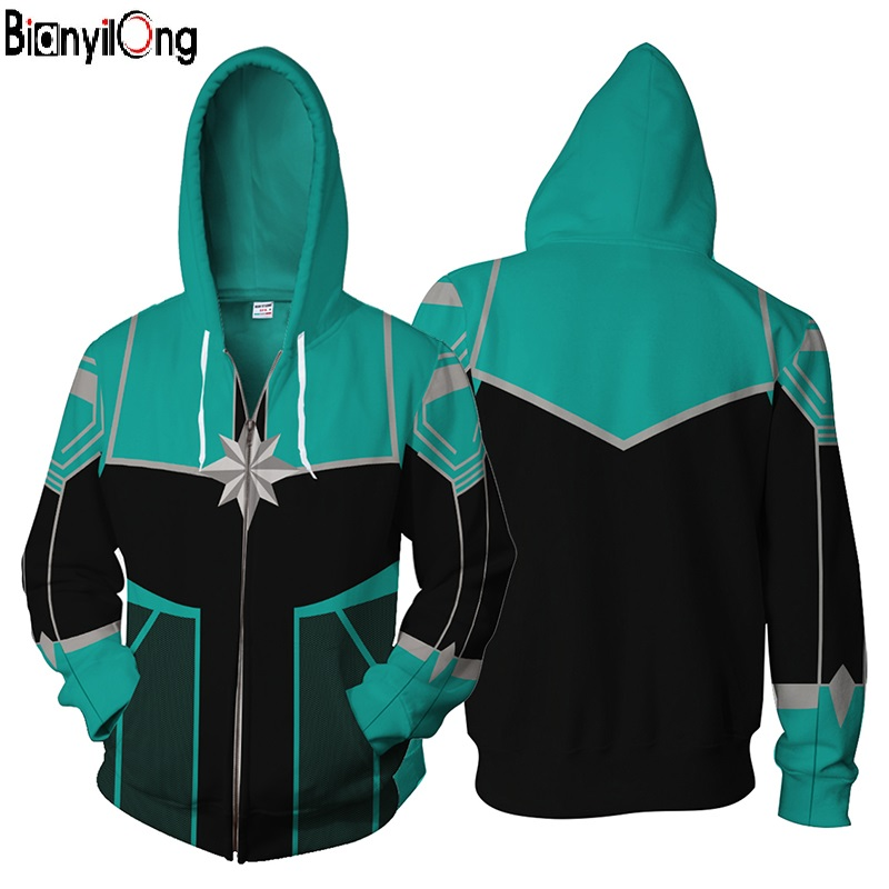2018 New Captain Marvel Cosplay Hoodie Green Battle Suit Man Women Hot Jacket Hoody Zipper Sweatshirt Women /Man Tracksuits Tops
