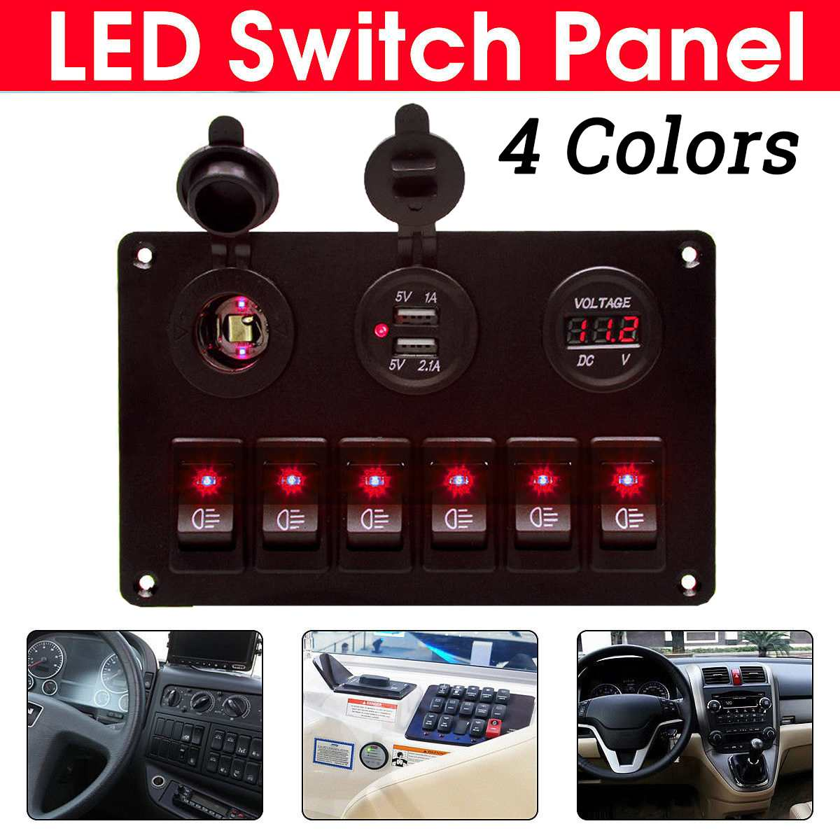 Rocker Switch Panel 6 Gang Led Display Voltage Dual USB Charging Ports Switch Universal for 12V 24V Car Yacht Boat Caravan