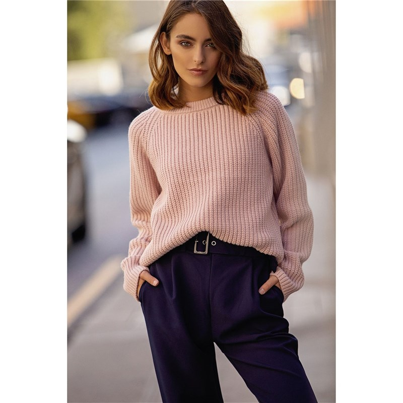 [Available with 10.11] Sweater. Color pink. round neck color block sweater