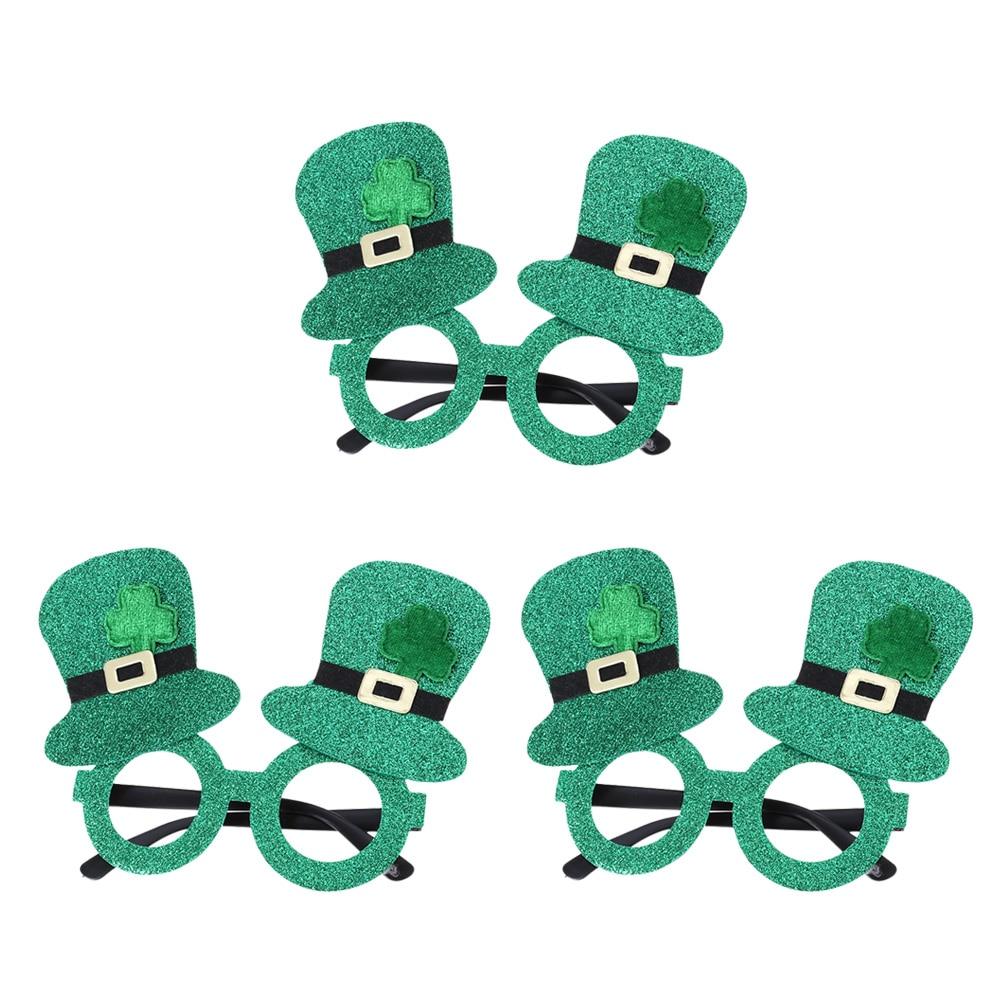 Patricks Day Funny Shamrock Glitter Hat Glasses Leprechaun Lensless Novelty Party Supplies Accessory Green Unisex 2019 New Apparel Accessories Men's Eyewear Frames Buy Cheap St