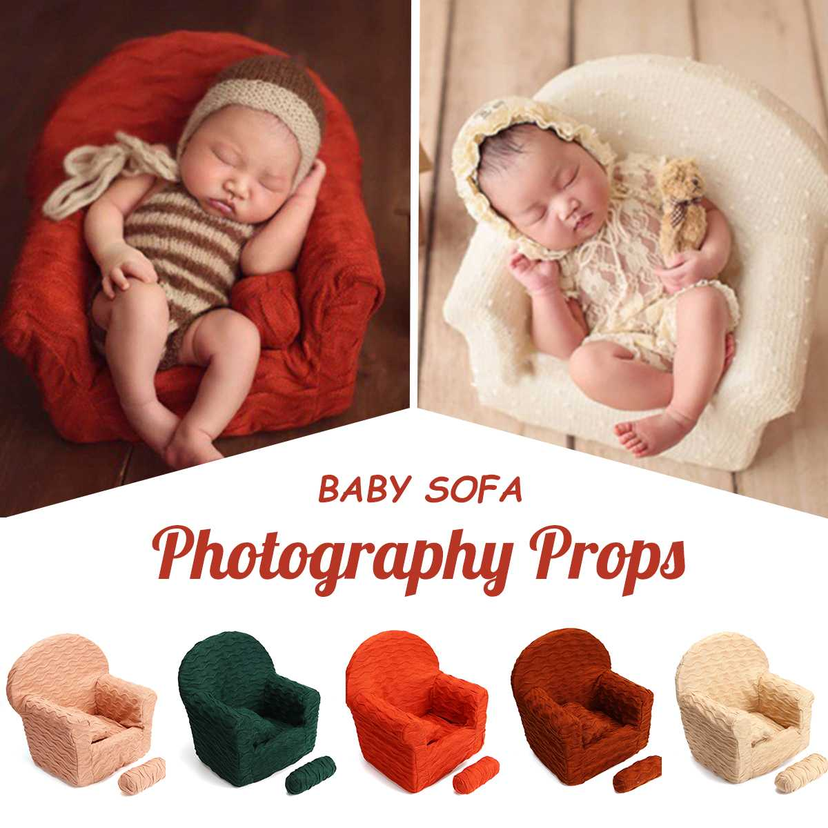 Newborn Baby Sofa Studio Photoshoot Accessories Tool Baby Modeling Photography Props Small Sofa Chair Photo Decor With 2 Pillows