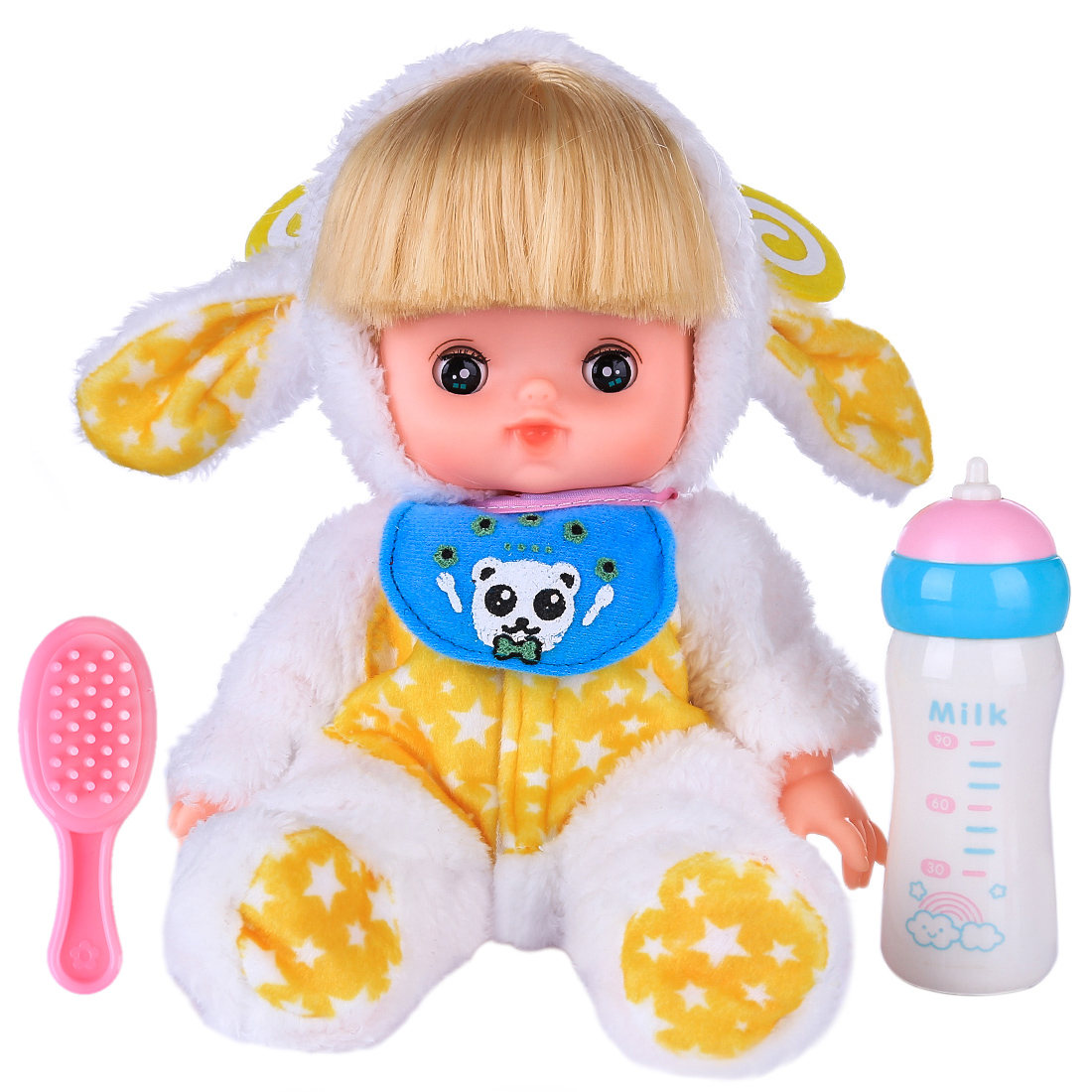 Baby Doll Toys Lifelike Pretend Play Doll Set Makeup Hairstyle Play Toy Beauty Pretend Play For Kids Birthday Gift- White Yellow