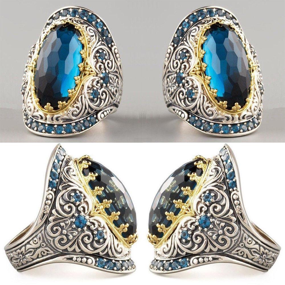 Vintage Silver Big Stone Ring For Women Fashion Bohemian Boho