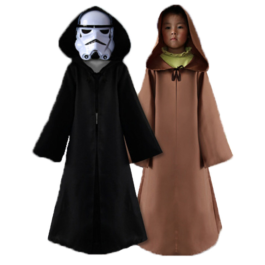 May The Force Be with You Star Wars Day Kids Cosplay Costumes Cloak Hooded Cape Robe The Force Awakens Halloween Carnival Wear