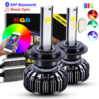 H4 H7 LED Car Headlight Bulbs COB RGB LED Headlight H1 H3 H11 H13 880 9005 9006 9012 LED APP Bluetooth Control Multi color 25W