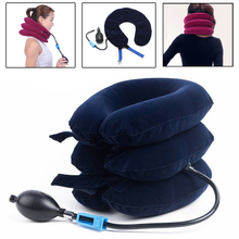 Air Inflatable Neck Pillow Cervical Neck Headache Pain Traction Support Brace Device Travel Pillow Cushion for Airplane Car