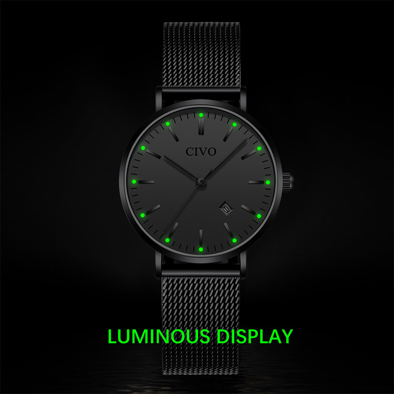 CIVO Luxury Diamond Mens Watches Womens Fashion Waterproof Luminous Quartz Watches Slim Steel Mesh Women Men Clock Relojes Mujer in Women 39 s Watches from Watches