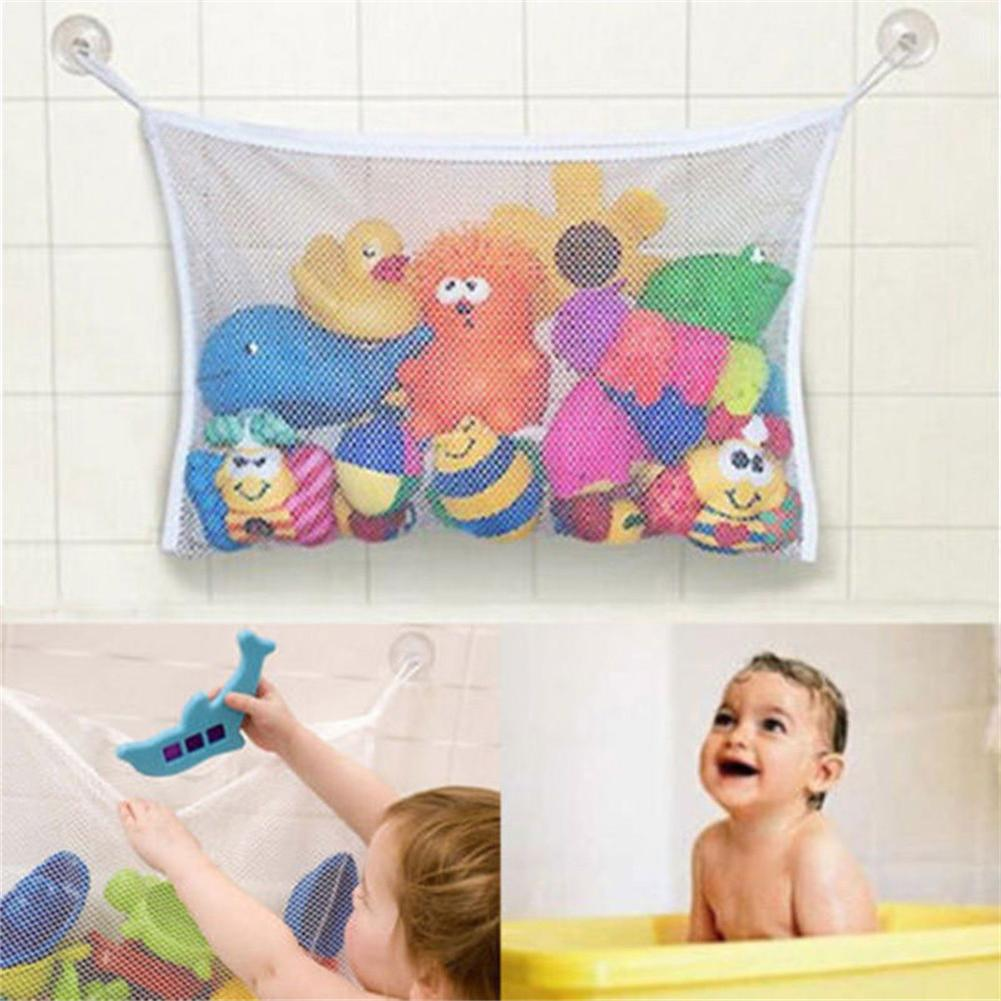 Baby Bath Bathtub Toy  Bathroom Organiser Washable Durable Easy Attached With Mesh Net Storage Bag Organizer
