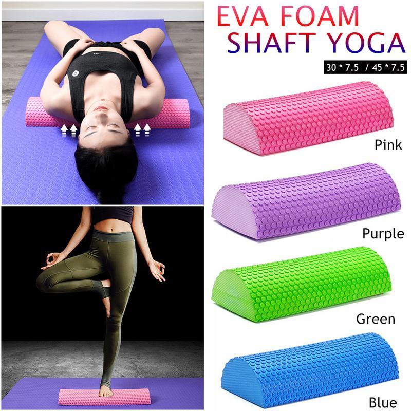 Half Round EVA Foam Roller For Yoga Pilates Fitness Equipment Balance Pad Yoga Blocks With Massage Floating Point 30-45cm