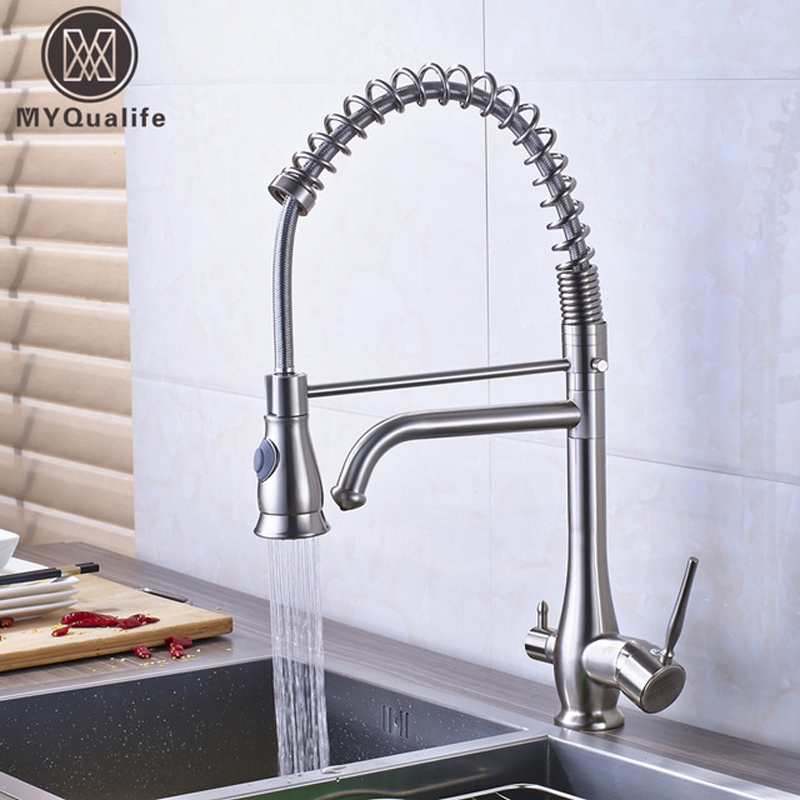 Brushed Nickel Purification Kitchen Faucet 3 way Function Filler Kitchen Mixer Taps Swive Spout Bathroom Kitchen MixerBrushed Nickel Purification Kitchen Faucet 3 way Function Filler Kitchen Mixer Taps Swive Spout Bathroom Kitchen Mixer