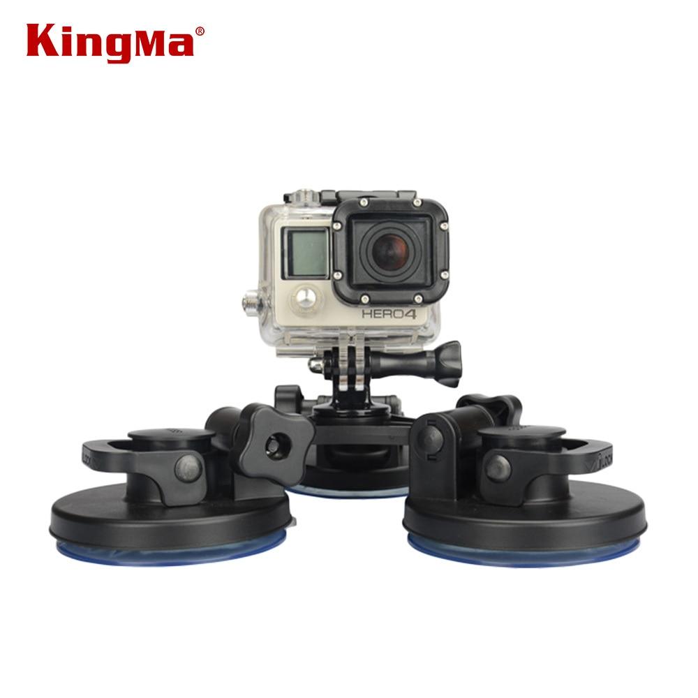 KingMa 낮은 각도 탈착식 석션 컵 삼각대 마운트 Gopro Hero 용 서핑 보드 카를위한 3 배 빨판 고정 5 2 3 3+ 4 카메라 DV FS