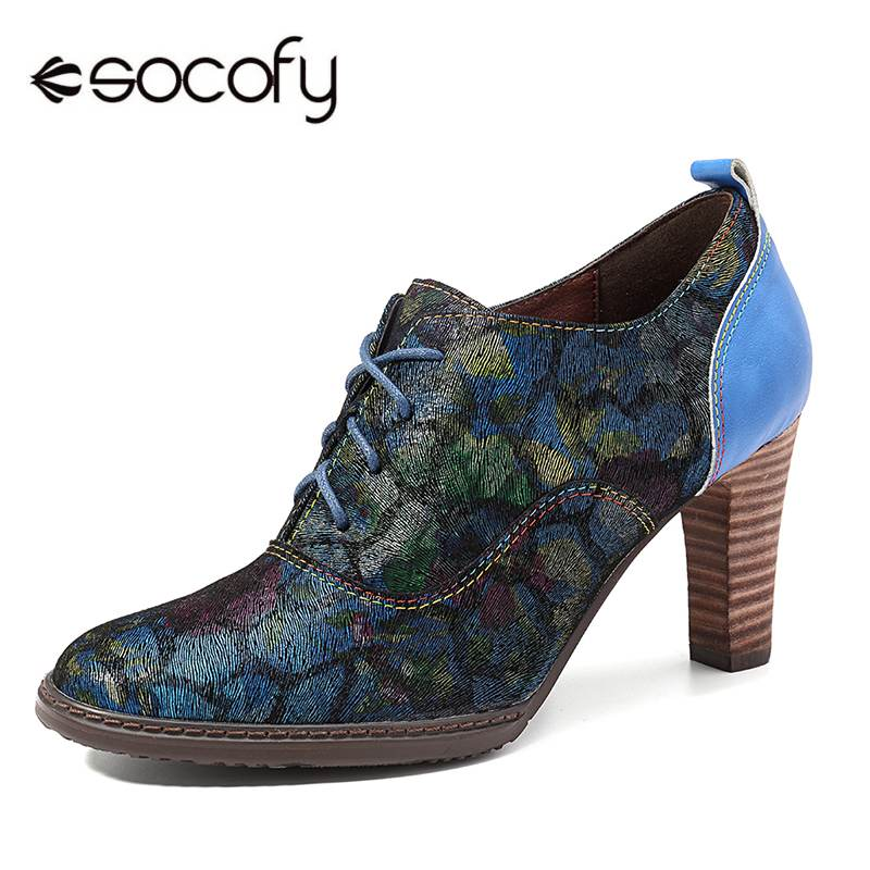 SOCOFY Retro Echtem Leder Nähte Spleißen Bunte Muster Zipper Lace Up Pumps Vintage Heels Stiefeletten Für Frauen Frühling-in Damenpumps aus Schuhe bei  Gruppe 1