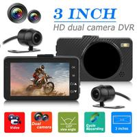 VODOOL high quility Motorcycle DVR Dash Cam 3 inch large LCD display Front+ Rear View Camera Recorder cool for Motorcycle useful