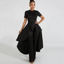 Women Blouse Shirt Plus Size Ruffle Tails Slim Summer Top Asymmetric Ladies Long Peplum Party Blouse