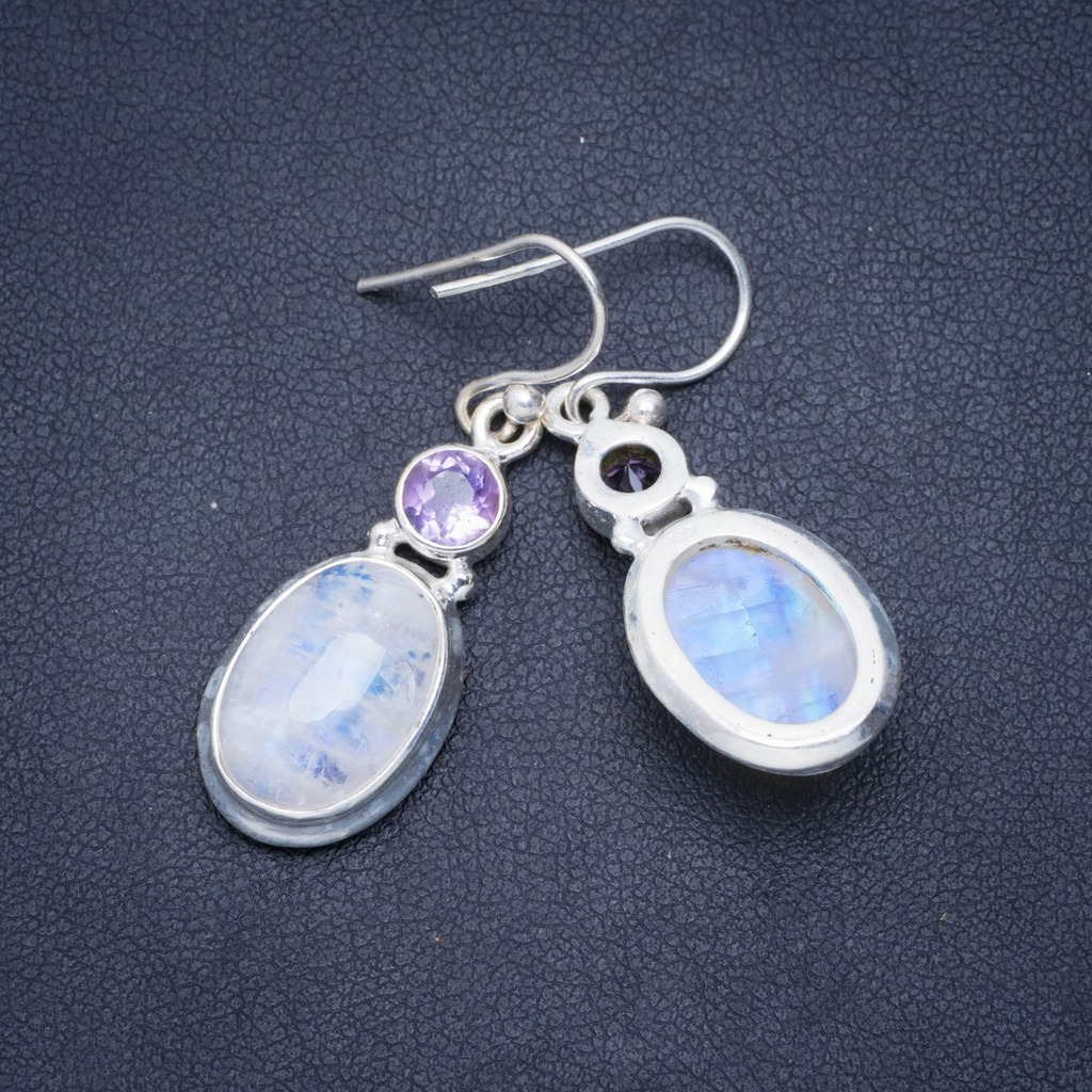 Natural Rainbow Moonstone and Amethyst Handmade Unique 925 Sterling Silver Earrings 1.5 A0909Natural Rainbow Moonstone and Amethyst Handmade Unique 925 Sterling Silver Earrings 1.5 A0909