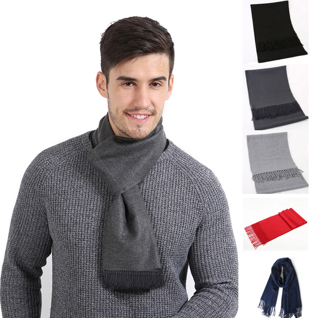 New Unisex Men Cashmere   Scarf   Winter Warm Soft Solid Color   Scarf   Pashmina Fashion Women Male Tassel Long   Scarves     Wrap   190*30cm