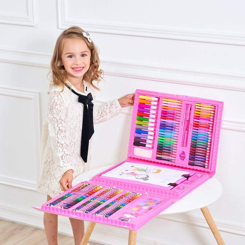 176 pièces Combinaison De Peinture-enfants Fournitures D'art Brosse Stylo Aquarelle