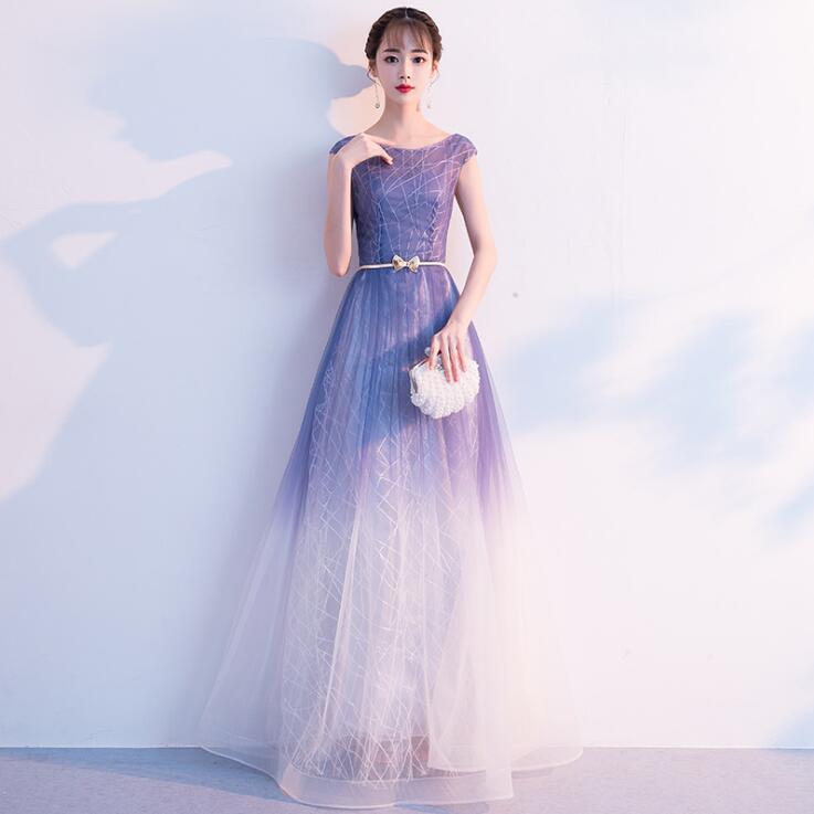 2019 mode dégradé femmes robe une ligne bleu et blanc longue robe de soirée pour mariage femme vêtements