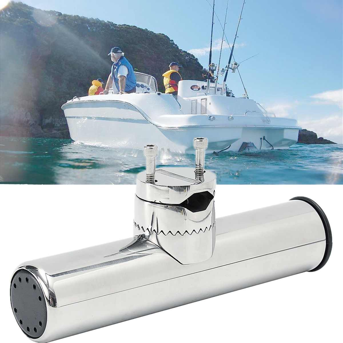 Adjustable 360 Angle Marine Boat Clamp Fishing Rod Holder For 26-32mm Rails 316 Stainless Steel Mount Length 230mm Diameter 55mm