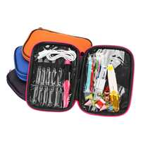 4 Color LED Light Up Crochet Hooks Set USB Knitting Needles Sewing Tools Kit Storage Bag Accessories Replaceable Top Chargeable
