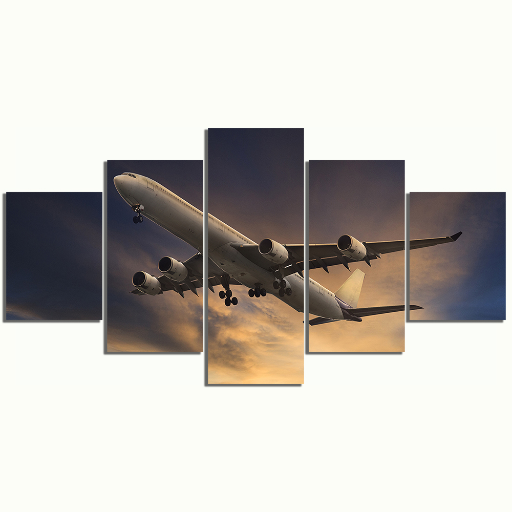 5 Panels Canvas Paintings Airplane Poster Pictures Landscape Wall Art for Home Decor 3