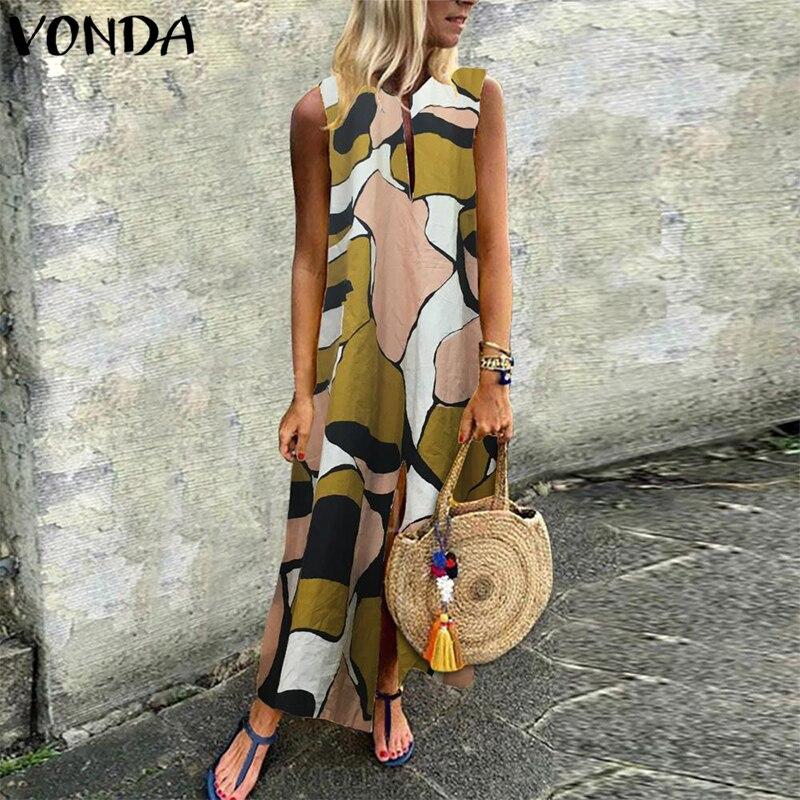VONDA богемное женское винтажное платье с принтом 2019 летнее повседневное свободное сексуальное Maix длинное платье с v образным вырезом без Рукавов Сплит Vestidos S 5XL