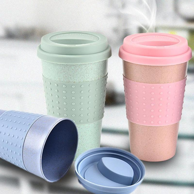 330ML Creative Wheat Straw Coffee Tea Mug Cups Reusable Cups Bottle Eco-Friendly Portable Outdoor Travel Juice Beer Water Cup cup