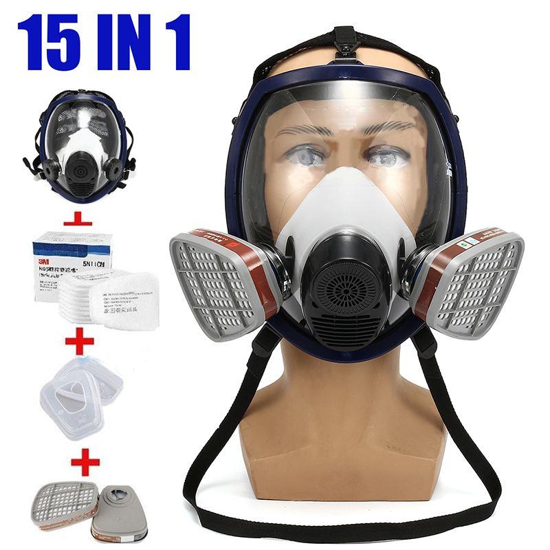 15 en 1 masque respiratoire peinture pulvérisation pour 3 M/6800 masque à gaz complet travailleur sécurité au travail masque de protection approvisionnement