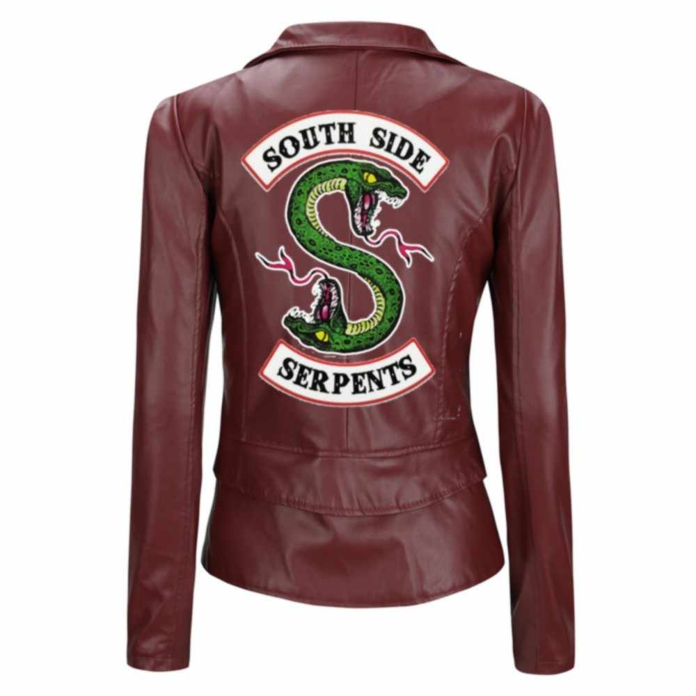 South Side Southside Riverdale PU Leather Jackets Serpents Jughead Jones Women Riverdale Serpents Streetwear Leather Snake Coat