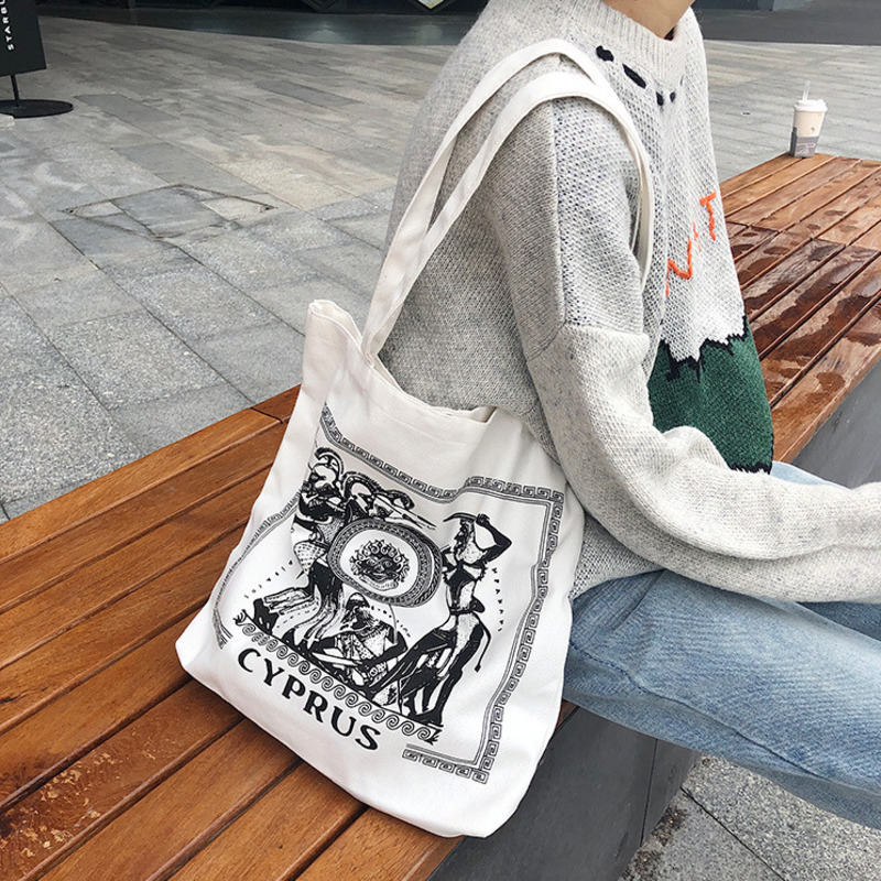 Women Canvas Shopping Bag Casual Tote Style Handbag Cloth Pouch Shoulder Bag Fashion Shopper Large Capacity Crossbody Bag 2019