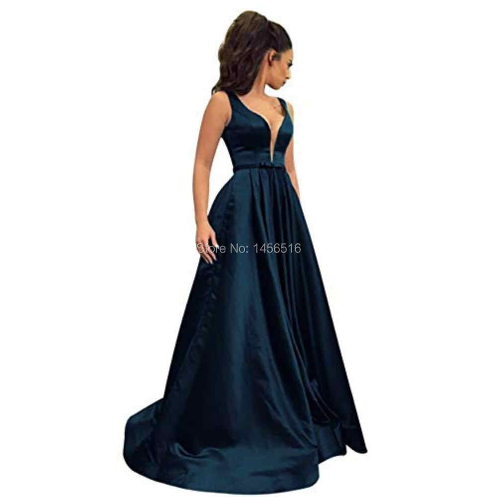 e5648a4f24806 Elegant 2019 Royal Blue Evening Dresses Long with Pockets A-Line Gown  Double V-Back Satin Formal Evening Party Dress for Women