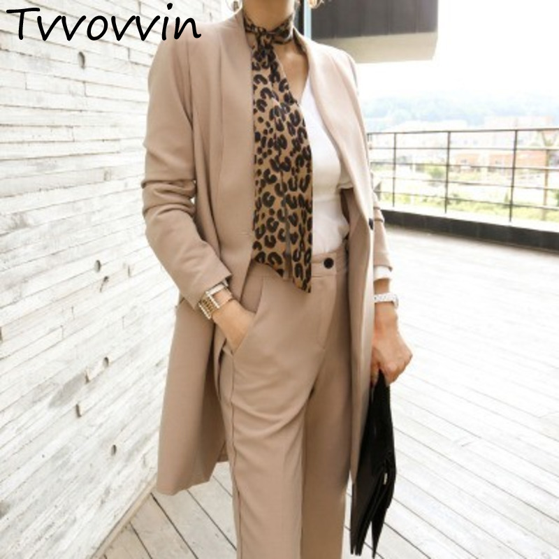 Fashion Two Piece Set For Women V Neck Long Sleeve Blazer Coat With Belt High Waist Trousers 2019 Spring Elegant set E038