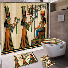 Waterproof Ancient Egyptian Patriarch Bath Shower Curtain Mat Rug Sets Home Bathroom Curtains With 12 Hooks Polyester Fabric Bat