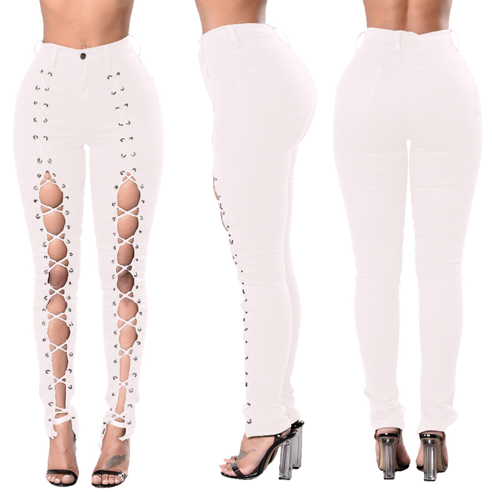 New Jeans Woman Ripped Hole High Waist Pencil Jeans Cotton Stretch Bodycon Female Sexy Skinny Denim Bandage Pants Plus Size Jeans Women Bottom ! Plus Size Women's Clothing & Accessories