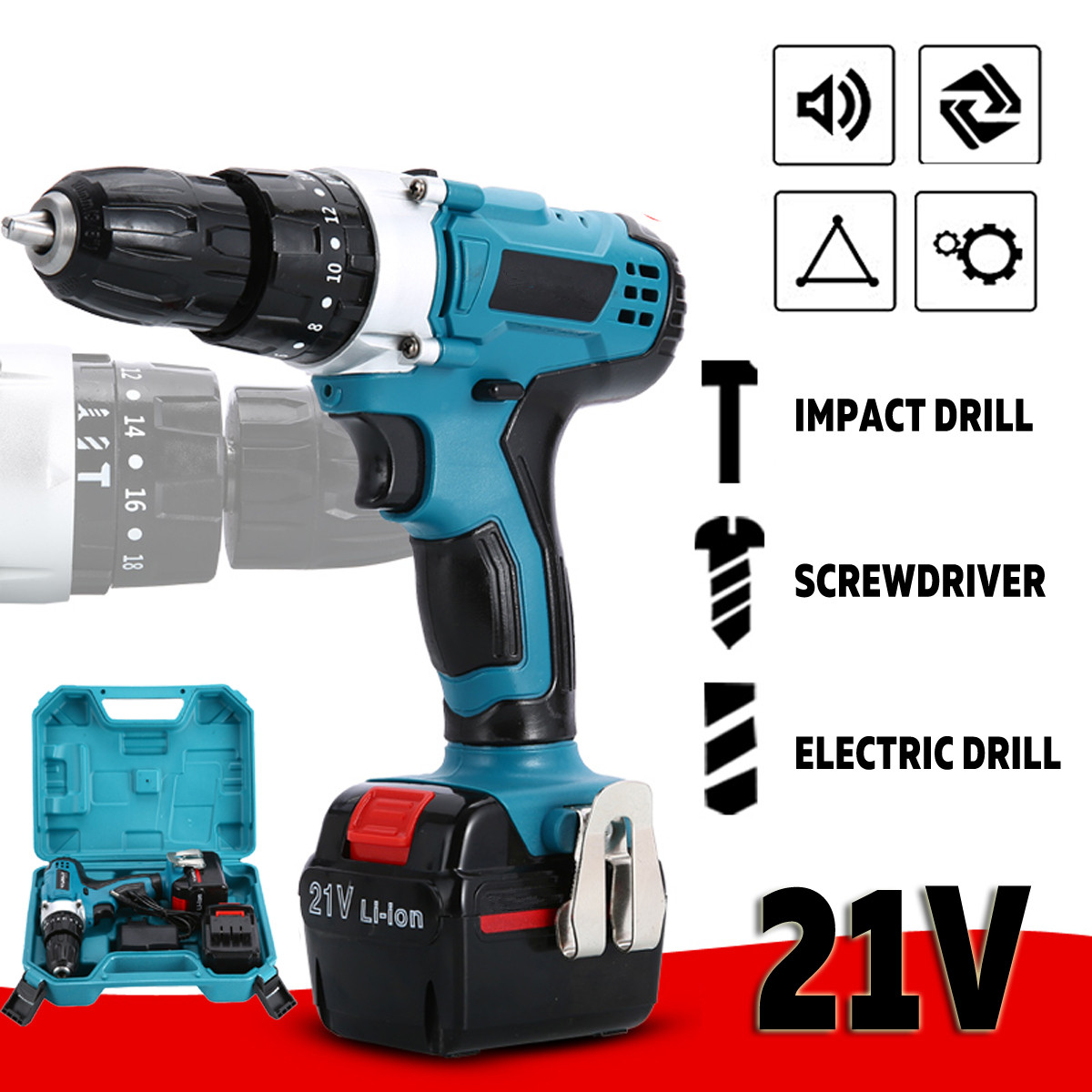 21V New Style Impact Drill Electric Screwdriver Electric Hand Drill Battery Cordless Hammer Drill Home Diy Power Tools+box21V New Style Impact Drill Electric Screwdriver Electric Hand Drill Battery Cordless Hammer Drill Home Diy Power Tools+box