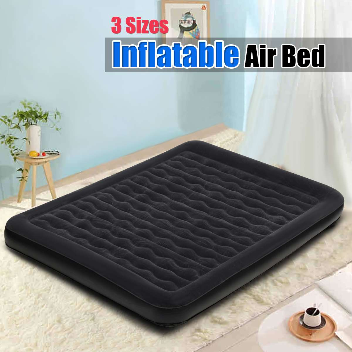Camping & Hiking 152*203*22cm Air Mattress Cartoon Back Mattress Home Bedroom Air Bed Beach Mat Inflatable Mattress With Electric Pump Camping Mat
