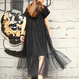 Image 2 - [Gutu] أزياء الصيف الجديدة 2017 حجم كبير أسود خياطة صافي الغزل جولة طوق قصير كم حجم كبير فضفاض ثوب المرأة 3361.5XL
