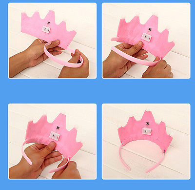 Girls Kids Baby Pink Polyester Happy Birthday Hat Cake Candles Sticky Notes