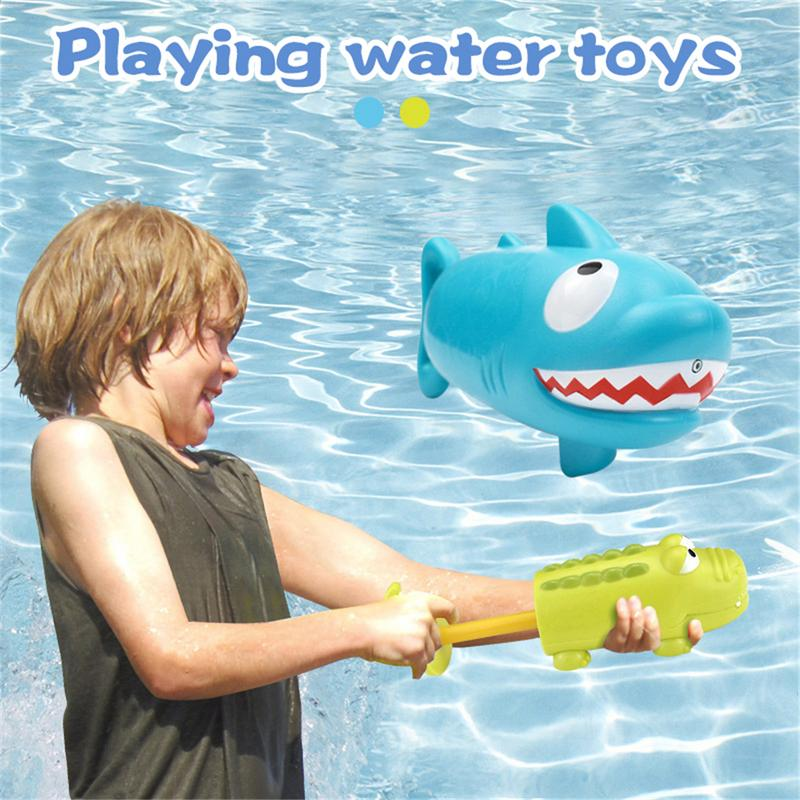 Kid's Pumping Water Cannon Toy Crocodile Shark Shape Summer Beach Outdoor Swimming Pool Playing Water Toys Baby Bath Water Toy