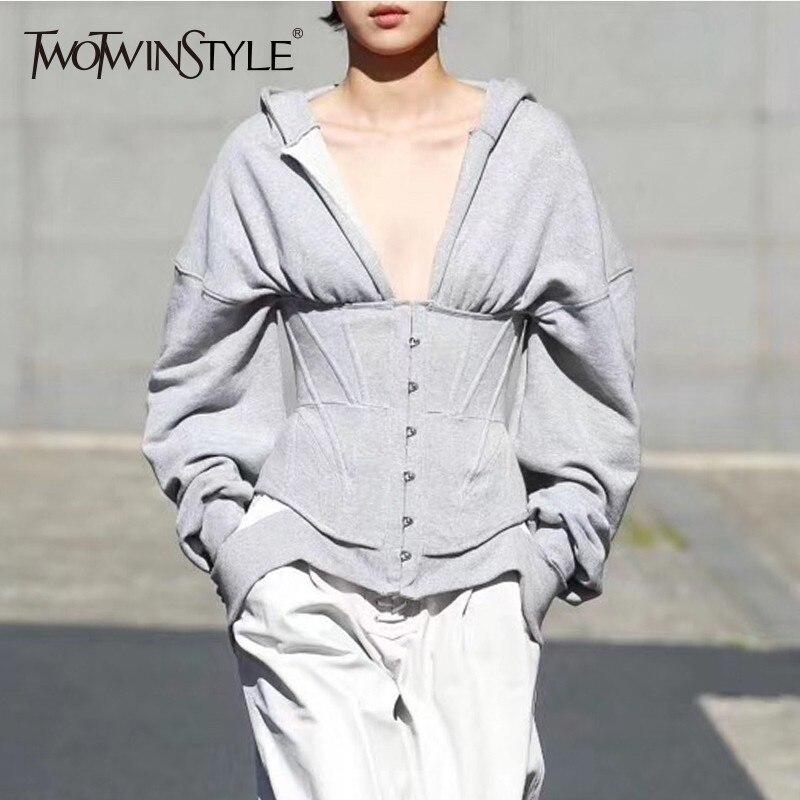 Deuxtwinstyle printemps Sweatshirts pour femmes Hoodies à manches longues col en V taille haute Slim sweat hauts femme mode nouveau 2019