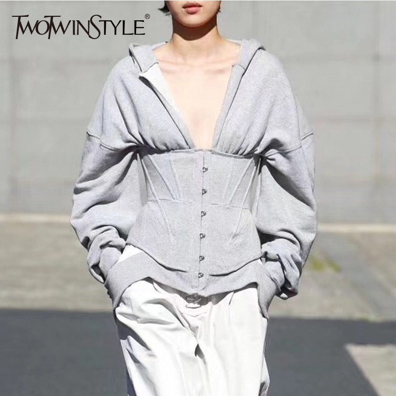 TWOTWINSTYLE Spring Sweatshirts For Women's Hoodies Long Sleeve V Neck High Waist Slim Sweatshirt Tops Female Fashion New 2019